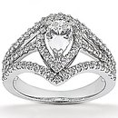 2.25 Cts. Diamond pear cut engagement ring white gold