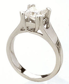 1.52 ct F VS1 PRINCESS CUT solitaire DIAMOND RING