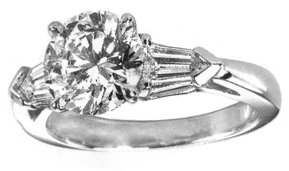 2.7 carat F VS1 diamond ring baguette diamonds gold