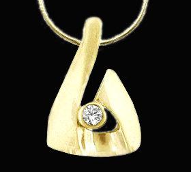 1.5 Ct. Diamond F VS1 yellow gold pendant necklace new