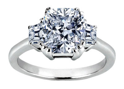 1.91 carat cushion diamond three 3 stone ring PLATINUM