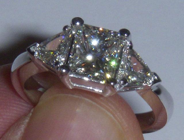 2.85 carat princess cut trilliant diamond ring platinum