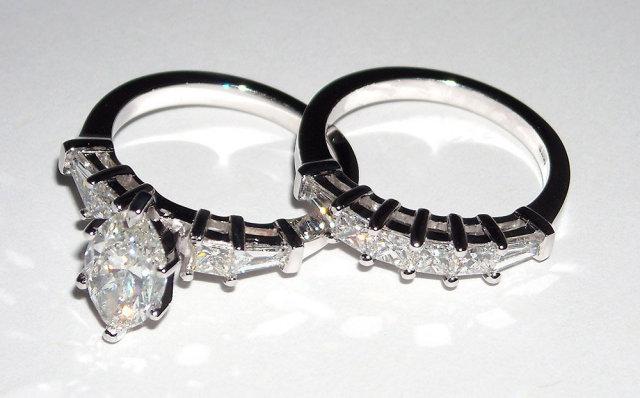 2.75 ct solitaire MARQUISE diamond rings PLATINUM