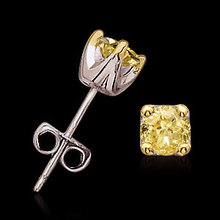 Yellow canary diamonds 2.02 ct. Stud earrings princess