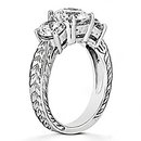 3 ct. Diamond three stone ring engagement gold white