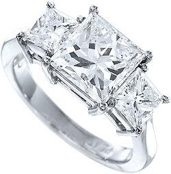 3 carat F VS2 princess cut real DIAMOND engagement ring