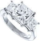 3 carat F VS2 princess cut real DIAMOND engagement ring