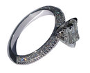 2.51 carat princess diamond micro pave engagement ring