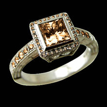 2.50 ct. champagne diamonds solitaire ring with accents