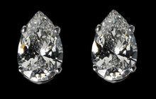 F VS1 diamonds pear cut stud post earrings 2.02 ct.
