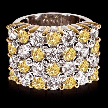 4.50 ct. yellow canary diamonds wide anniversary ring