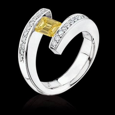 Emerald cut fancy yellow diamonds 2 ct. engagement ring
