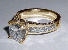 3.01 carat princess cut diamonds engagement ring gold