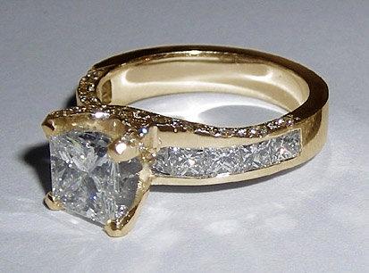 3.01 carat princess cut diamonds engagement ring gold