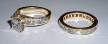 CUSTOMIZED princess cut pave diamond engagement set