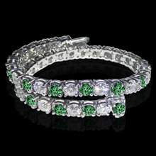 14 ct. white green diamonds tennis bracelet white gold