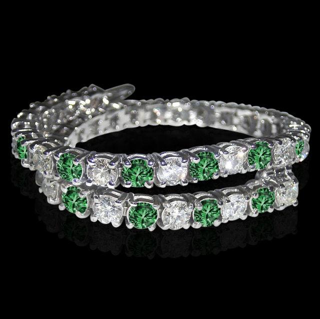 14 ct. white green diamonds tennis bracelet white gold