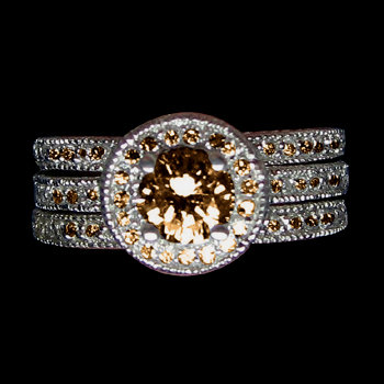 3 ct. champagne diamonds ring antique finish gold ring