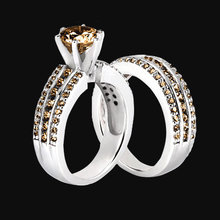 4.5 ct. champagne diamonds engagement ring band set
