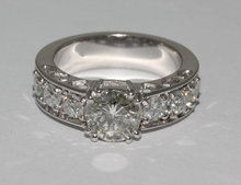 2.40 carat round sparkling diamonds ring white gold new