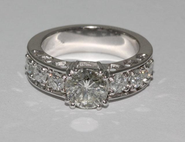 2.40 carat round sparkling diamonds ring white gold new