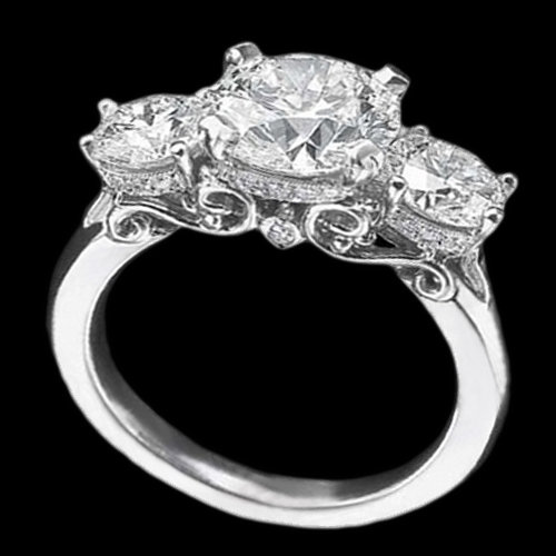 3.75 cts white gold tulip style DIAMOND engagement ring