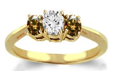 Diamond engagement ring champagne & white diamonds ring