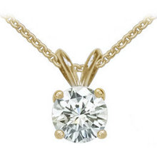 E VVS1 diamond 1.25 ct. yellow gold pendant with chain