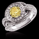 Yellow canary 3 ct. diamond engagement ring white gold