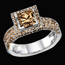 3.50 carat champagne diamonds solitaire ring with