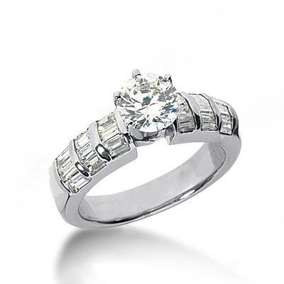 Diamonds 3.51 ct. engagement ring white gold new