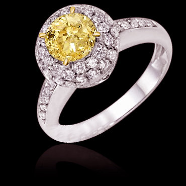 3 carat certified yellow diamonds anniversary ring gold