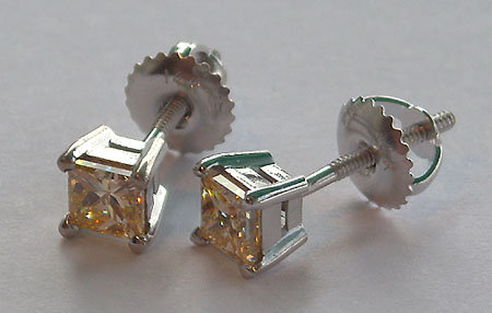 2 Cts. YELLOW CANARY princess cut DIAMOND stud earrings