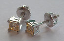2 Cts. YELLOW CANARY princess cut DIAMOND stud earrings