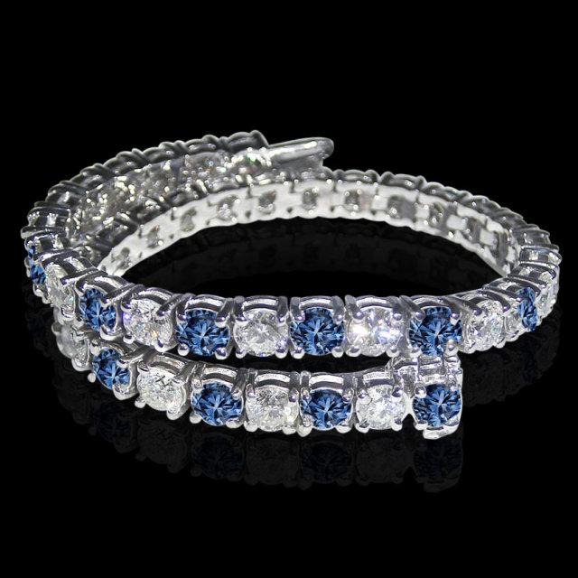 14 carat white blue diamonds tennis bracelet gold white