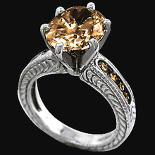 Champagne diamonds 2.50 ct.ring antique finish gold