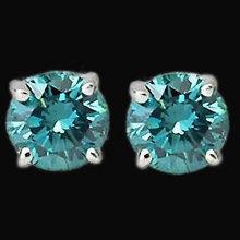Blue diamonds stud earrings 4 carats ear ring gold new