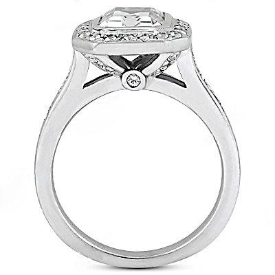F VVS1 diamonds emerald cut solitaire ring 2.25 carats