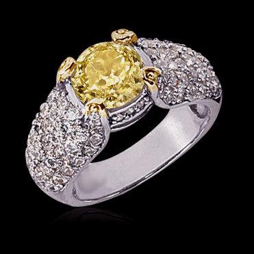 4 carat Yellow canary diamonds ring micro pave style