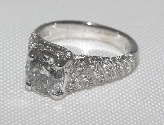3.5 carat diamonds engagement ring micro pave gold ring