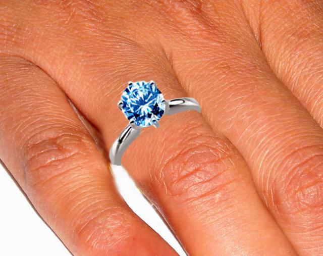 2 carat blue diamond engagement ring 6 prong set gold