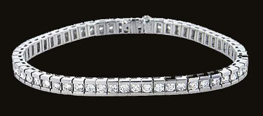 14 Carats diamond channel bracelet white gold bracelet