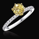 2.51 ct. yellow canary diamonds ring 6 prong settings