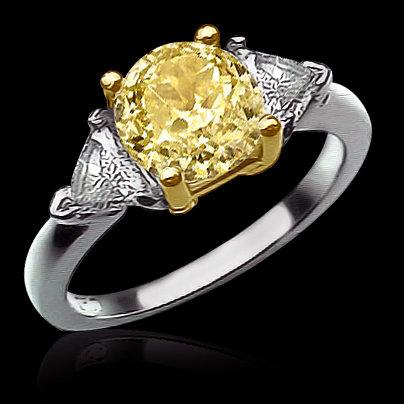 2.81 carat yellow canary diamonds 3-stone ring gold new