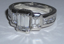 3.51 carats Platinum EMERALD diamond engagement ring