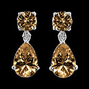 Champagne brown diamonds dangle earrings 3.50 carats