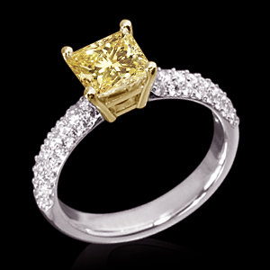 3.01 cts. Yellow canary diamonds engagement ring gold