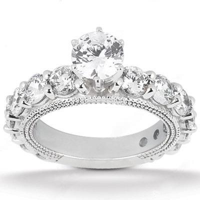 F VS1 diamonds 3.75 carat engagement ring diamond band