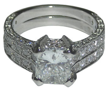 3.51 cts diamond engagement ring and band set PLATINUM