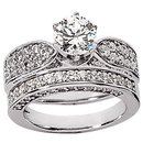 2.51 carat diamonds ring engagement band set gold ring